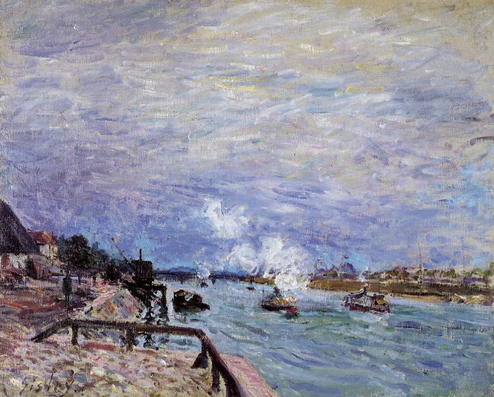 The Seine at Grenelle Rainy Wether impressionism Oil painting Alfred Sisley