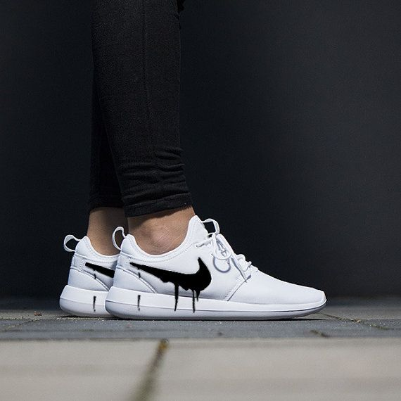 wholesale dealer 89cad 0069a Nike Roshe Two White with Custom Black Candy Drip Swoosh Paint