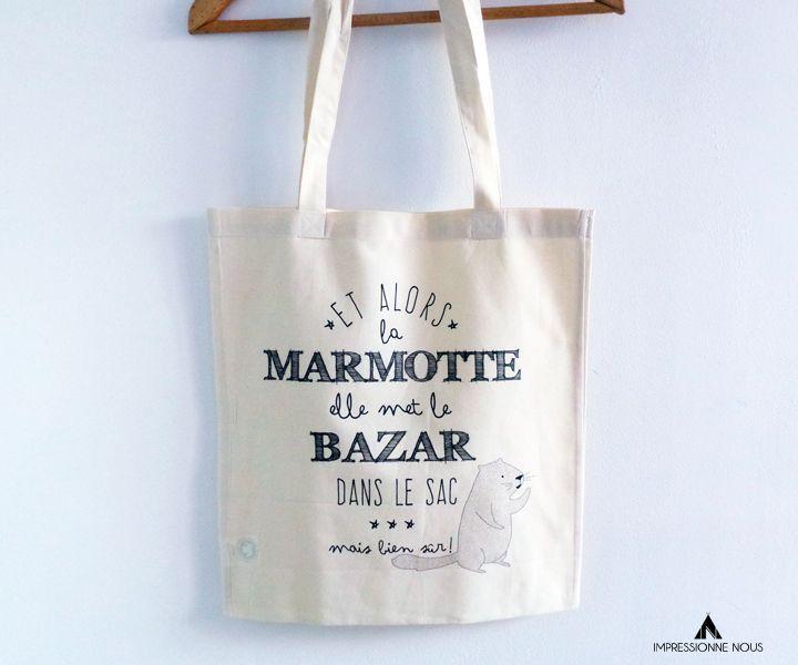le produit tote bag marmotte est vendu par impressionne nous dans notre boutique tictail. Black Bedroom Furniture Sets. Home Design Ideas