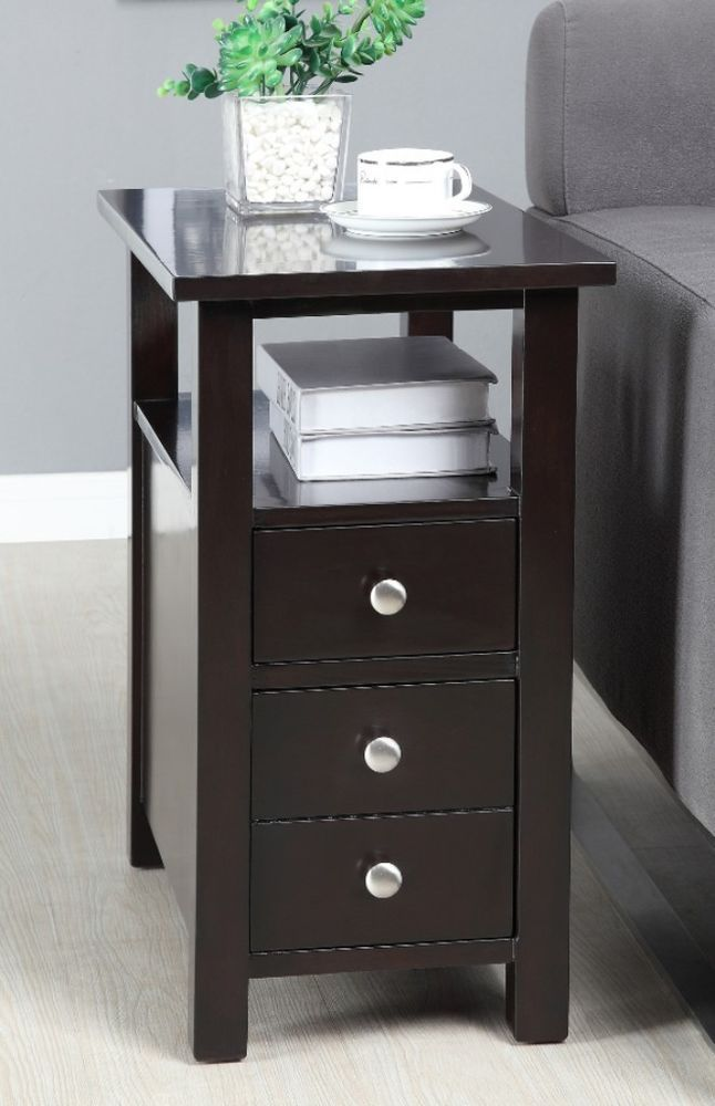 Modern Narrow Dark Espresso Nightstand Wooden Side Table 2 Drawers