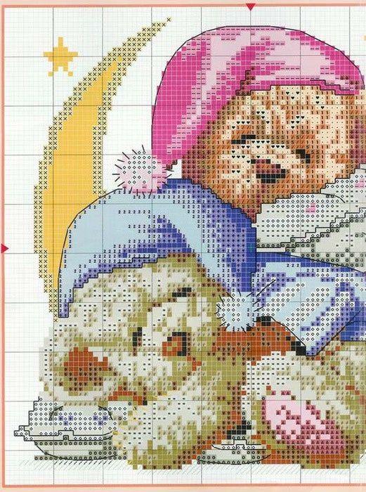 teddies cross-stitch