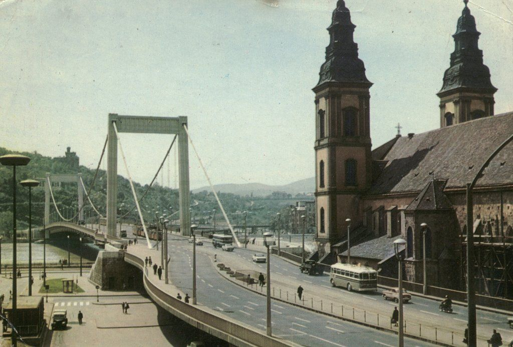 the new Elizabeth bridge and the downtown church in the '60s