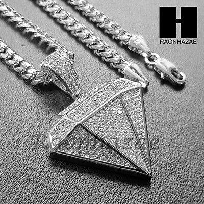 1c9b98ea63c Iced Out Lab Diamond Rhodium PT Diamond Shape Pendant w  4mm Cuban Chain  B06S