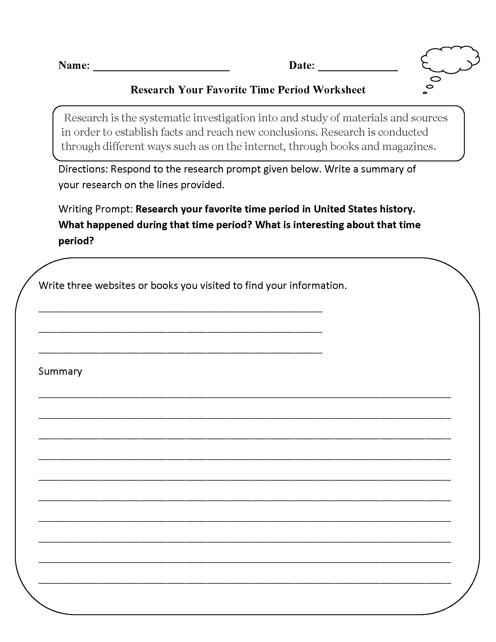 Research Favorite Time Period Worksheet
