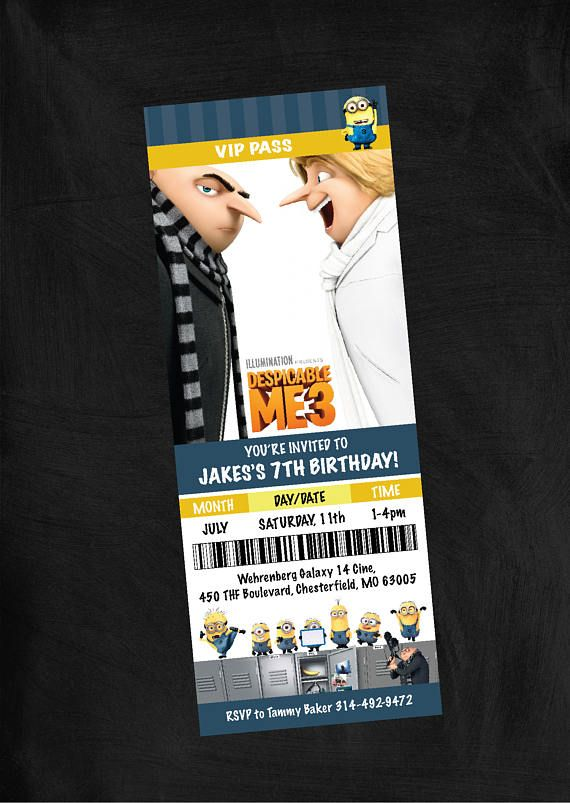Despicable Me 3 Themed Birthday Party Invitation