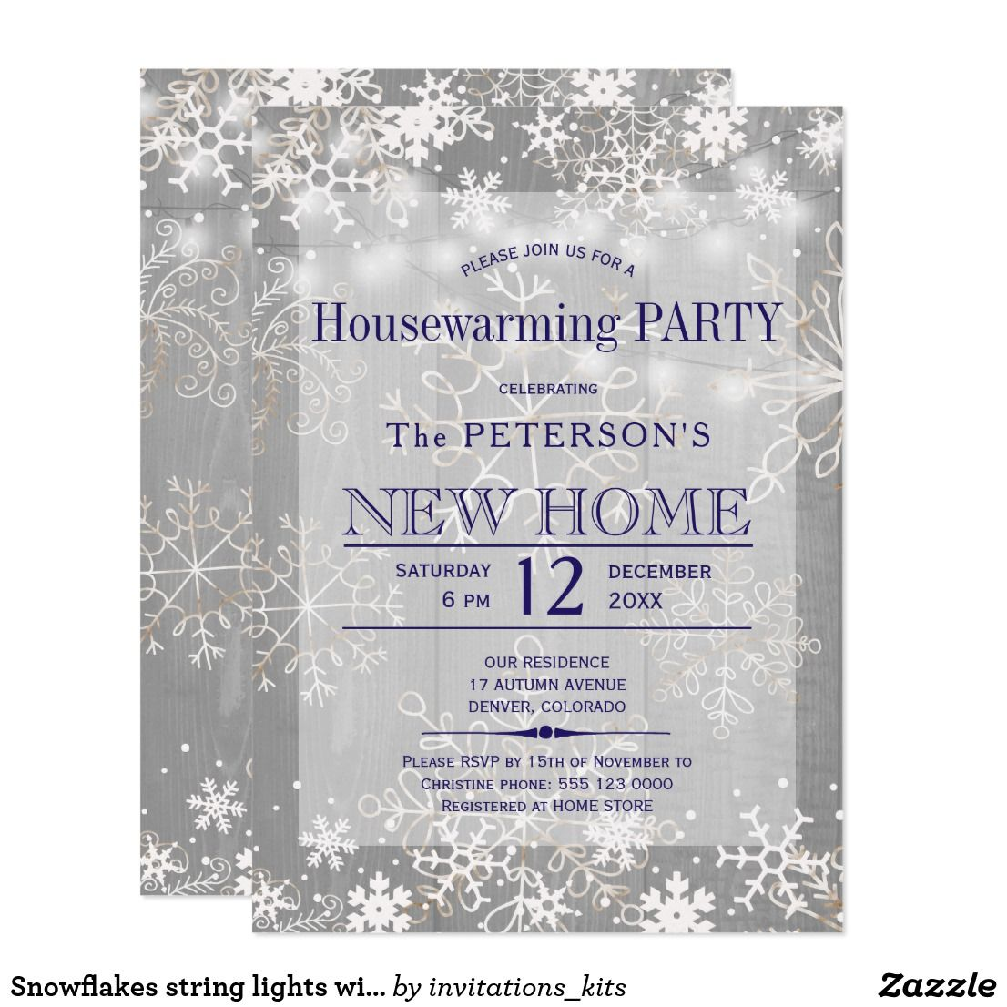 Snowflakes string lights winter housewarming party card | Invitation ...
