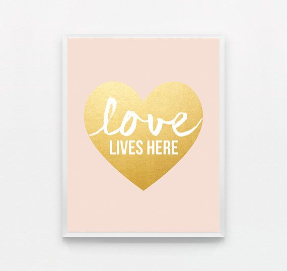 Peach Love Wall Art Typography Poster Pastel Pink | For the Home ...