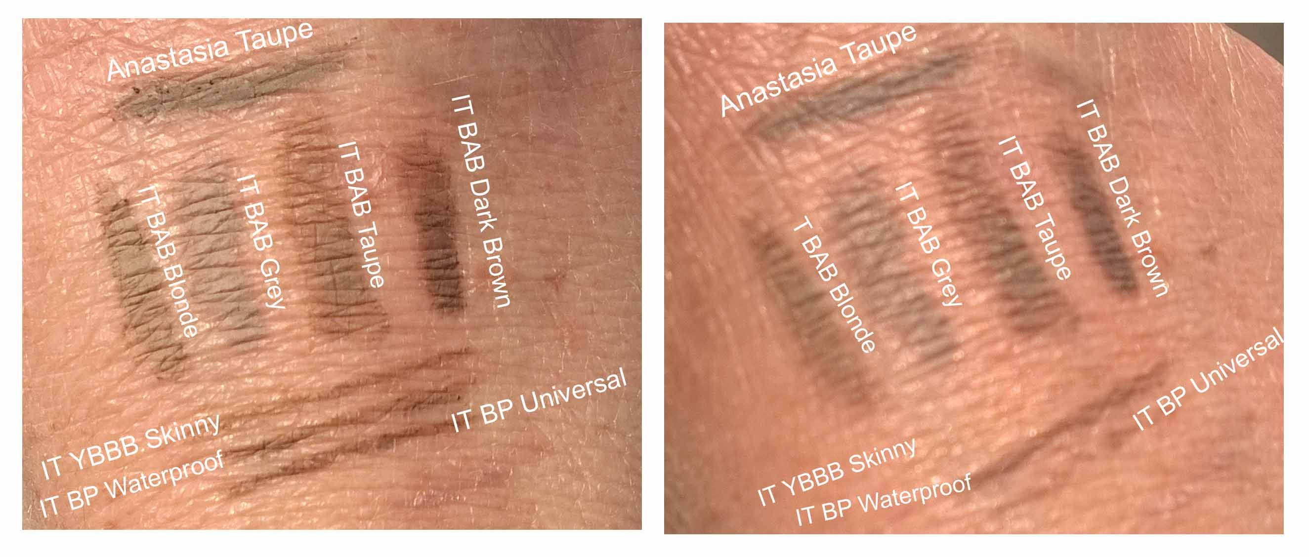 Swatches Of Anastasia Dip Brow In Taupe It Cosmetics Build A Brow