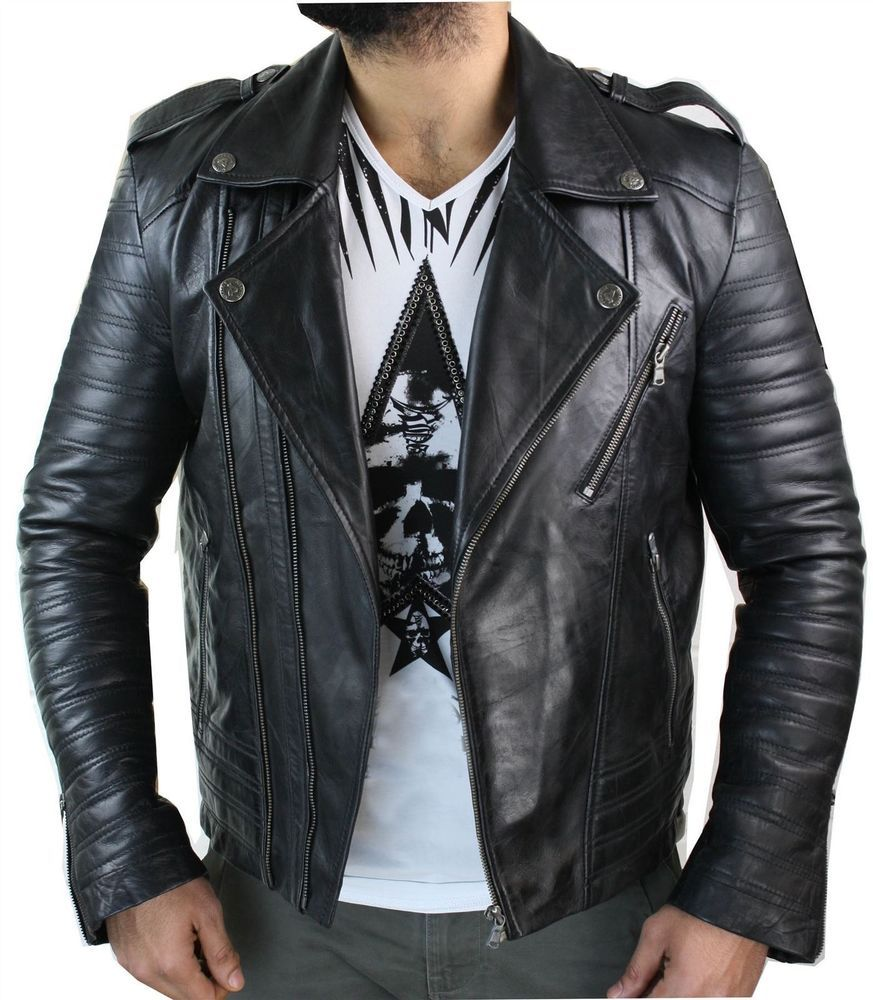 New Men's Lambskin Leather Jacket Motorcycle Pure Black