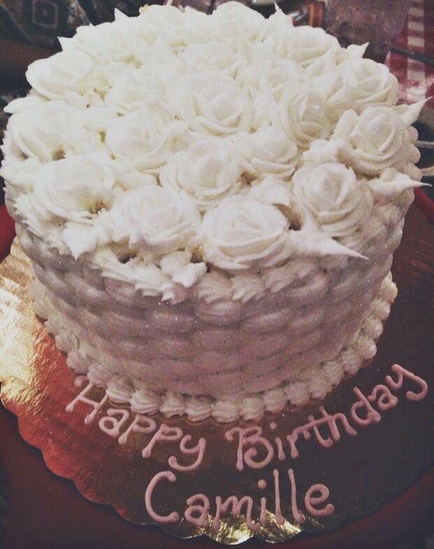 All White Rose Birthday Cake Food Pinterest Birthday Cakes