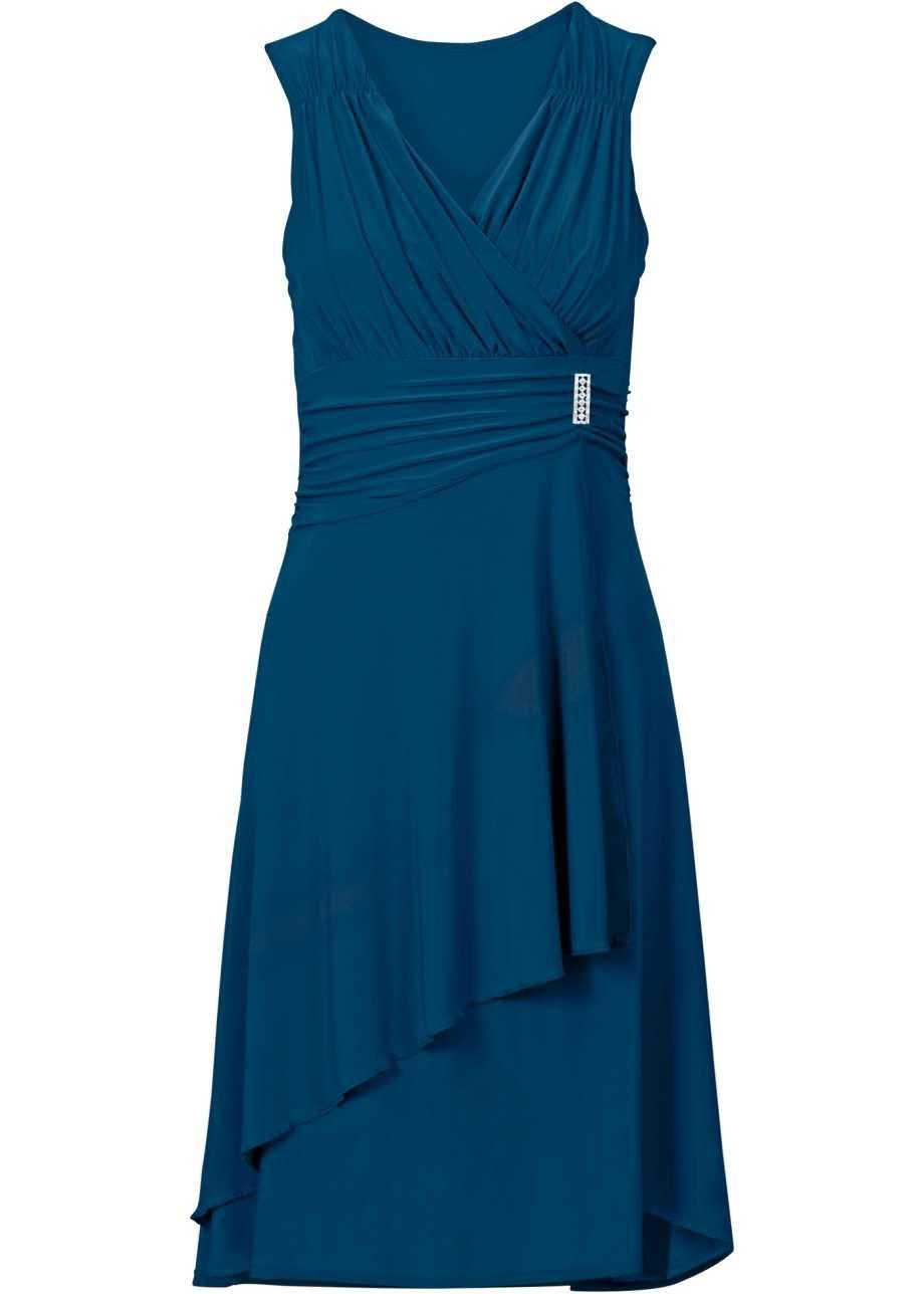 Knielanges Kleid in aufregender Wickeloptik - blaupetrol in 19