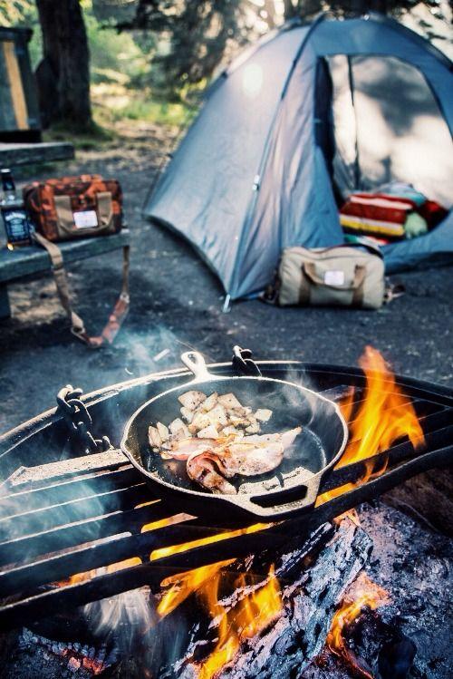 Camping With Poler Camera Cooler In Autumn Camo And Mini Duffle Khaki