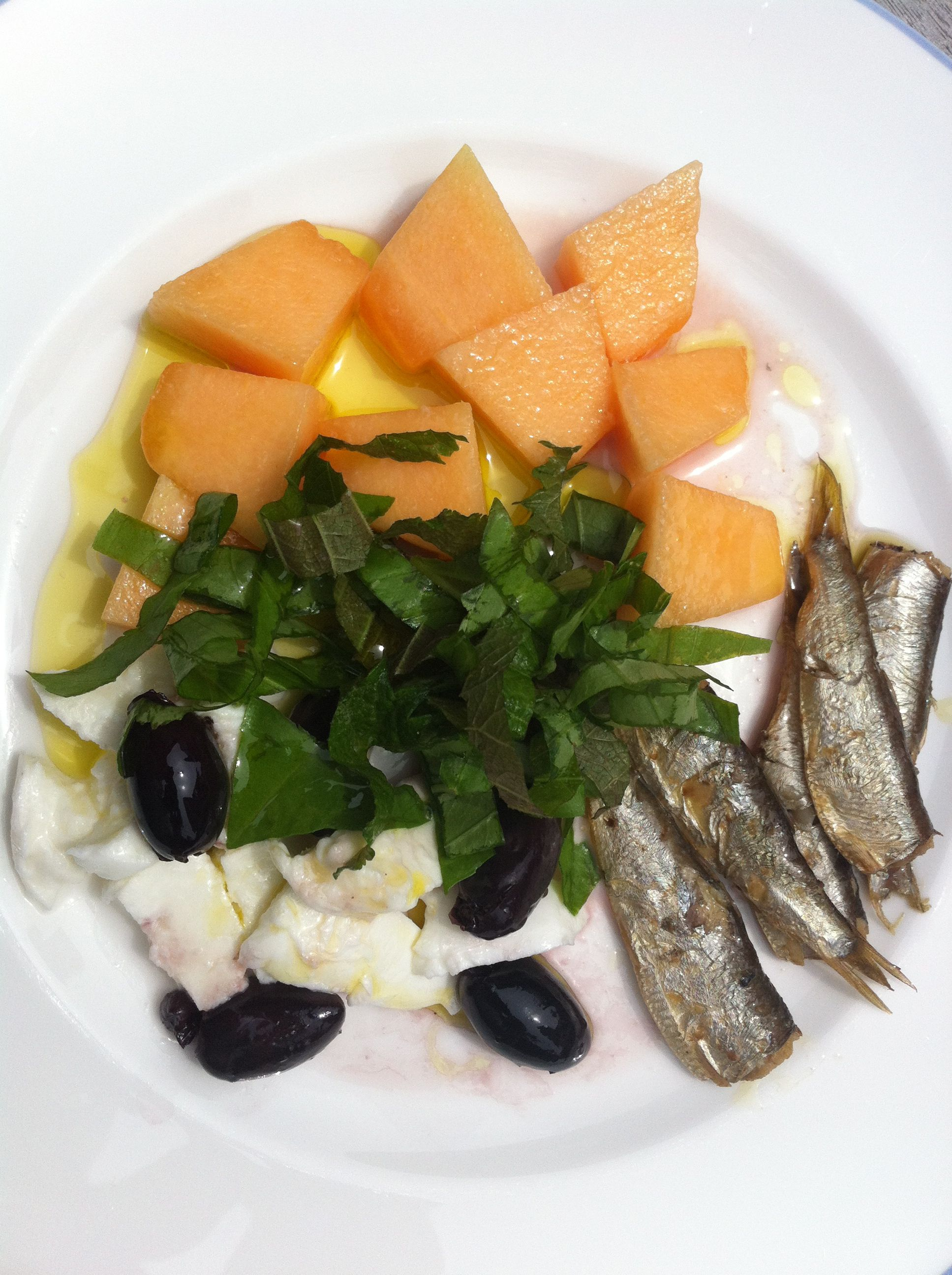 Smoked sardines mozzarella melon olives and fresh basil good find this pin and more on good mood food easy and simple healthy recipes forumfinder Image collections