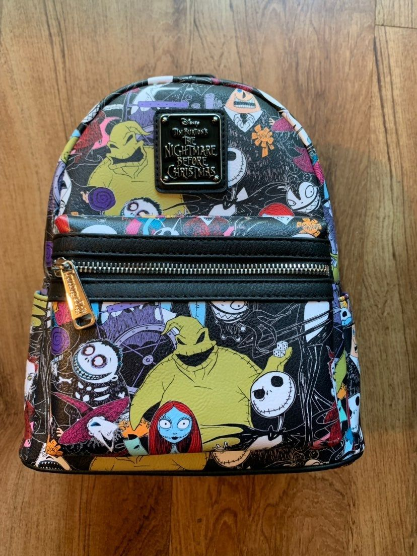 Disney Loungefly Nightmare Before Christmas Characters Mini Backpack Wallet NWT