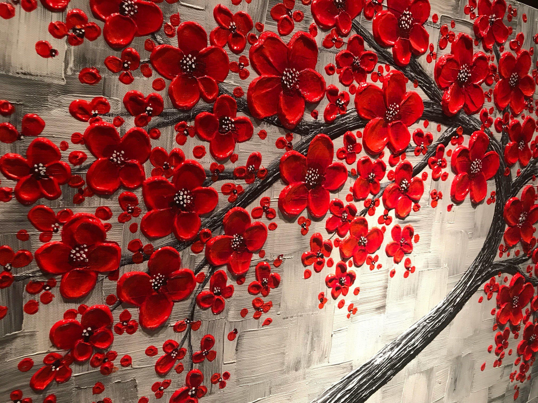 Red Cherry Blossom Tree Painting Large Impasto Abstract Art Original Contemporary Livingroom Wall Decor Cherry Blossom Art Red Cherry Blossom Cherry Blossom Painting