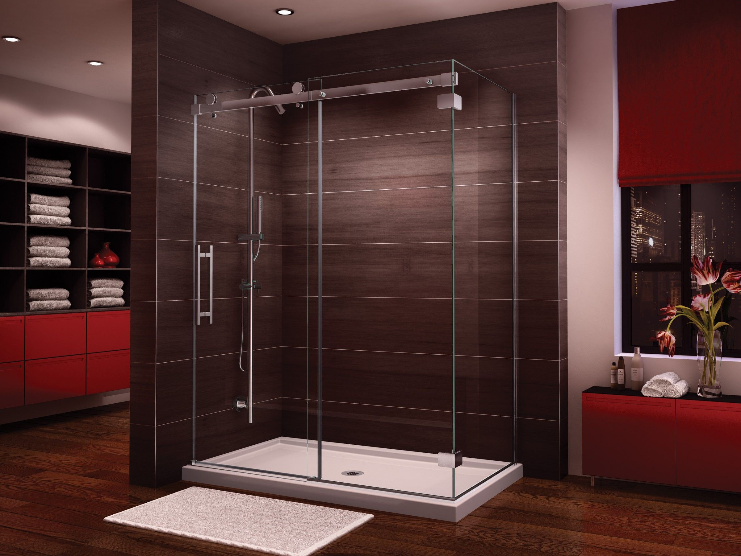 Fleurco Novara In Line 57 58 Door And Panel With Return Panel Closes Against Wall H0v26036 Cw 1 208 00 Shower Doors Neo Angle Shower Doors Glass Shower Enclosures