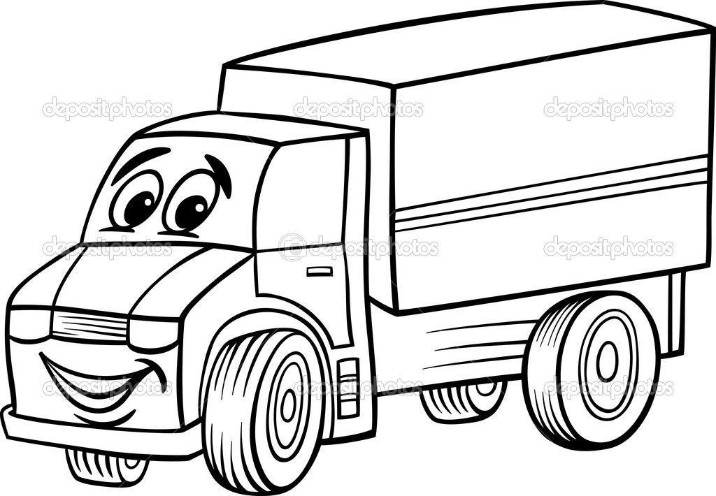 Dibujos animados graciosos camión para colorear libro — Ilustración ...