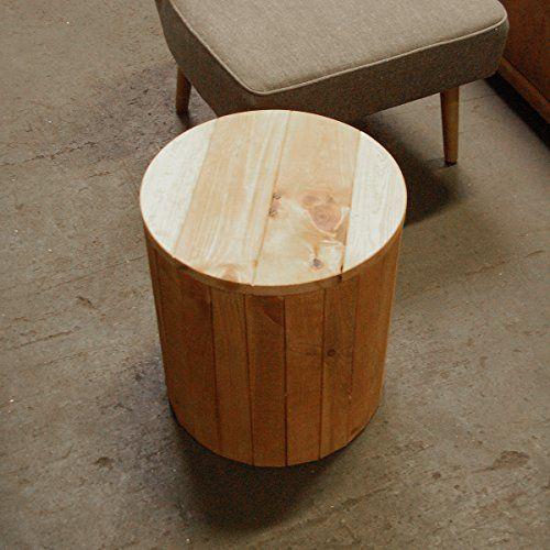 Lounge Zone Beistelltisch Holztisch Tisch Wohnzimmer Gstezimmer RUSTICI Pinie Massivholz Holz Massiv Natur Rund 39x39x44cm