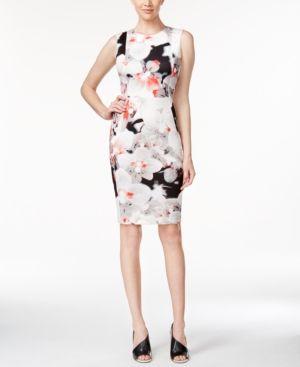 18bbddb120 Calvin Klein Petite Floral-Print Scuba Sheath Dress - Fire 10P ...