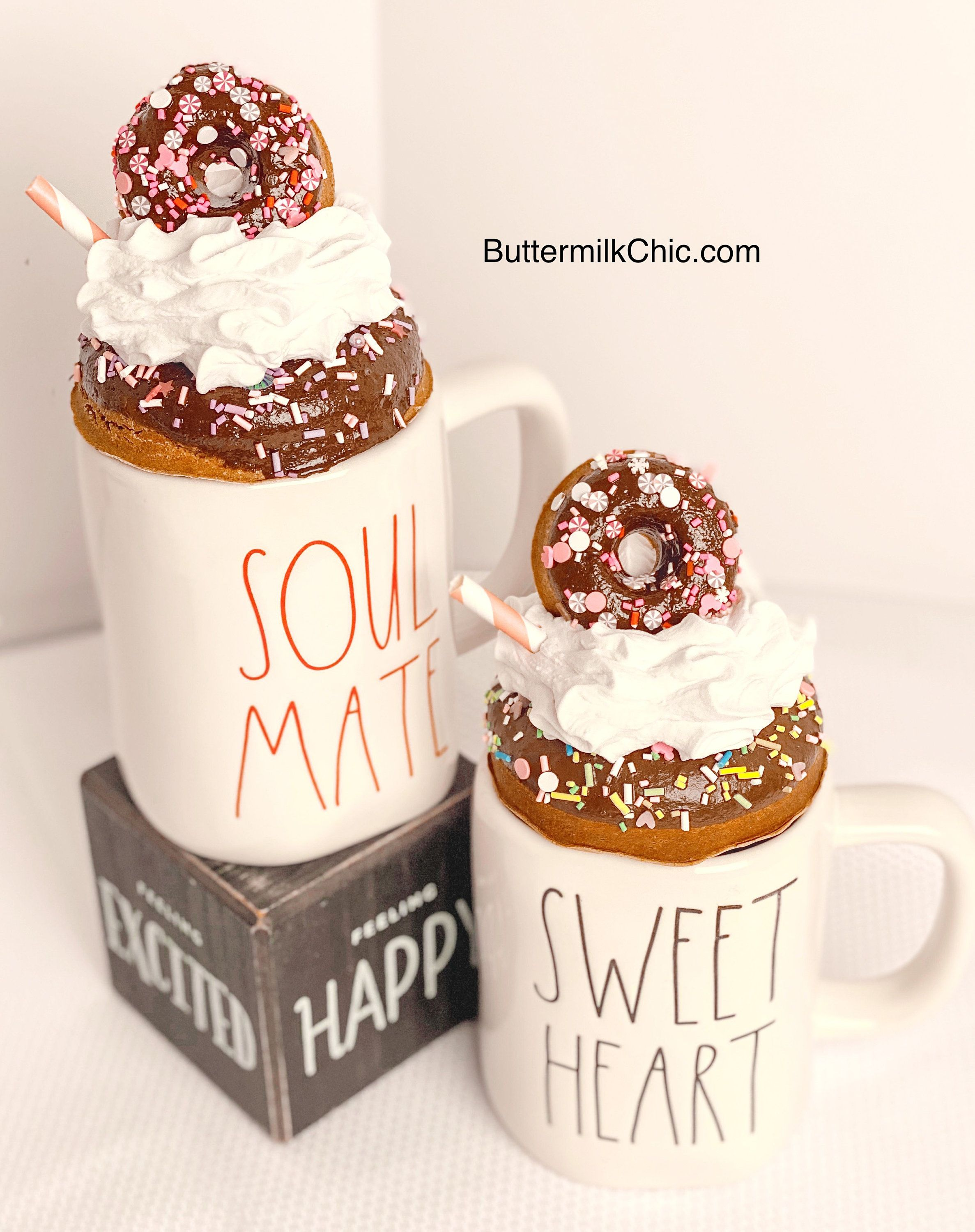 Faux whip cream mug topper fake donuts with sprinkles