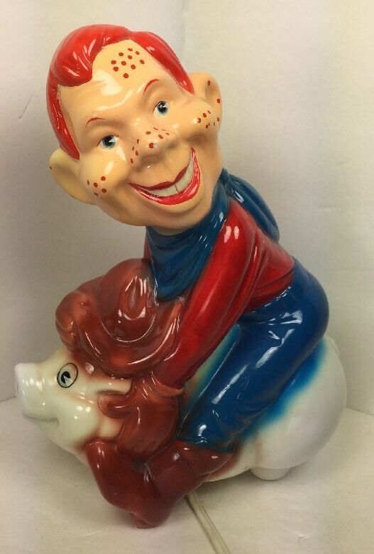 Vintage Howdy Doody Character Red Head Night Light With Pig Lamp Kids
