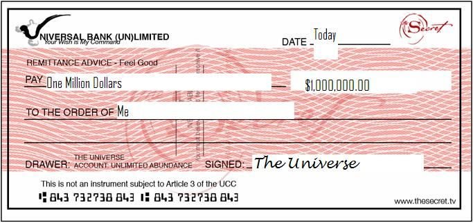 A Check For 10 000 000 00 Dollars Given To Me By The Universe Money Vision Board Wealth Affirmations One Million Dollars