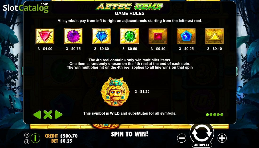 Paytable 1 Aztec Gems Video Slot From Pragmatic Play Slot Aztec Play