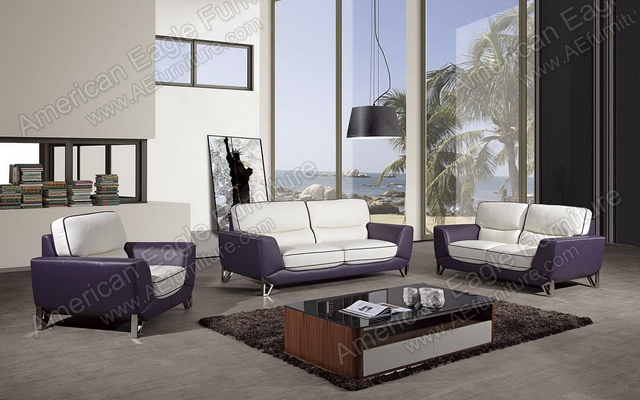 - EK026-W-PUR 3pcs White Purple Leather Match Sofa Set Sofa Set
