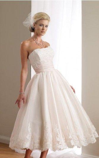 Beige Tea Length Wedding Dress