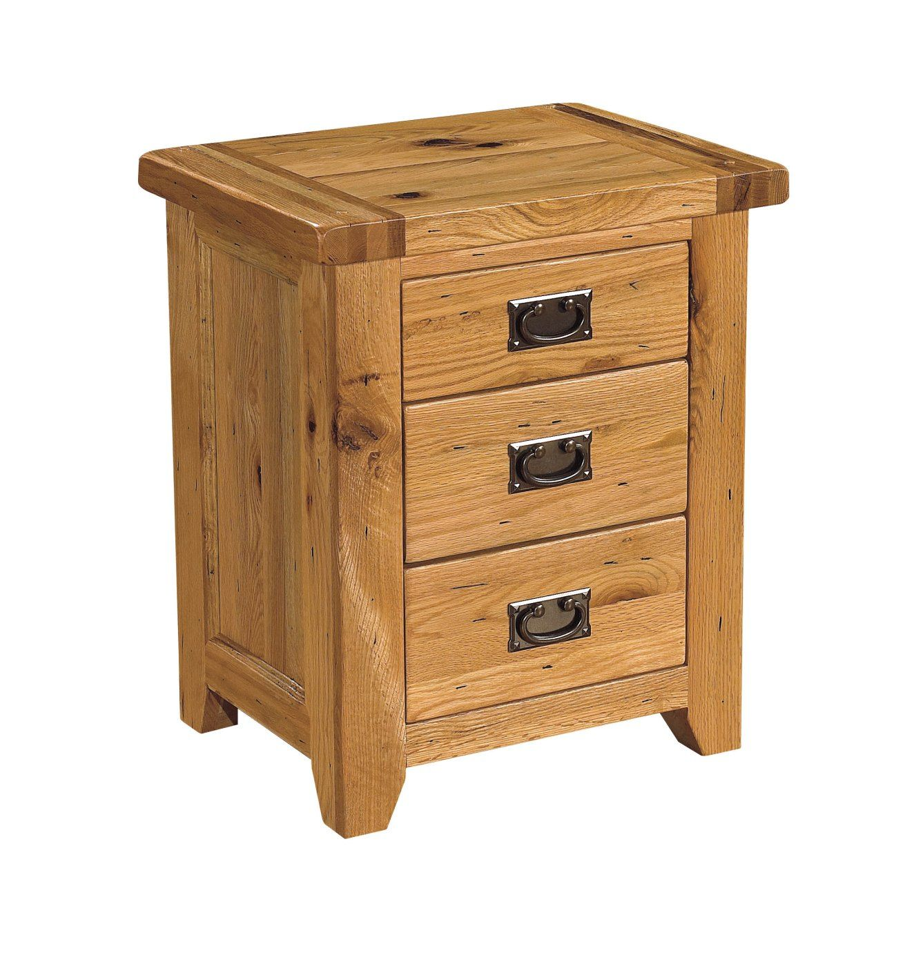 Tuscany solid oak bedroom furniture three drawer bedside cabinet