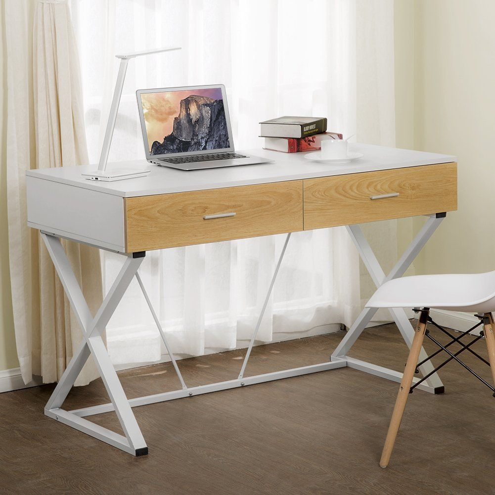 Tribesigns Computer Desk with 2 Utility Drawers, X-Shaped Modern ...