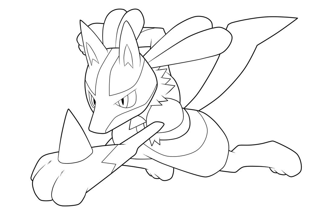 Lucario Lineart By Moxie2d On Deviantart Horse Coloring Pages