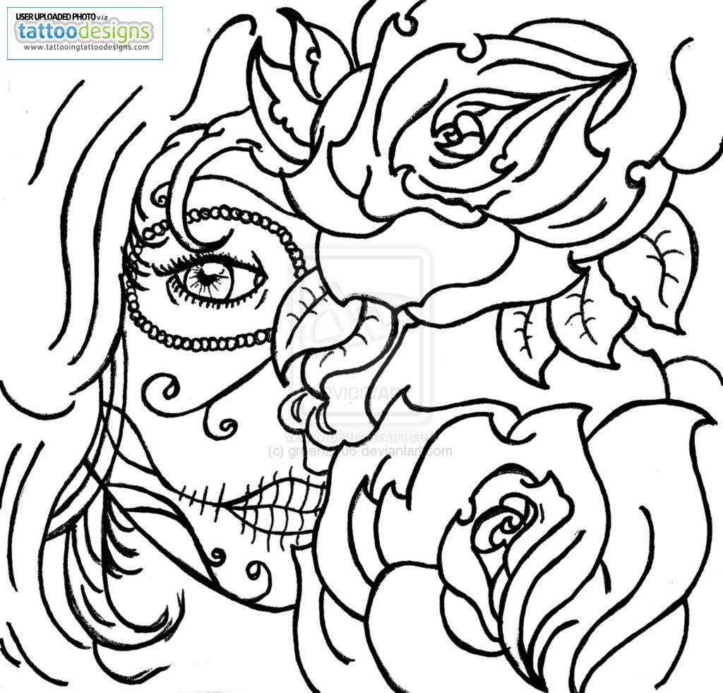 Coloring pages roses - Gypsy Candy Skull Roses By Green Image Tattooing Tattoo Designs