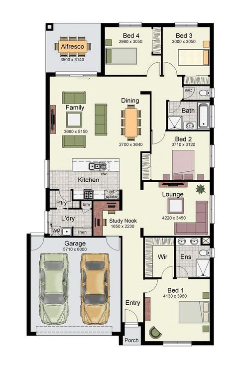 Single Story Home Floor Plan With 4 Bedrooms Double Garage And 171 Square Meters Porch House Plans My House Plans Small House Plans