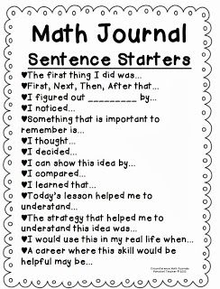 Math Journal Sentence Starters    some great starters for kids to