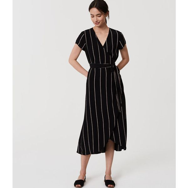 418df06575b7a LOFT Striped Wrap Dress featuring polyvore women's fashion clothing dresses  black striped short sleeve dress loft dresses v neck dress surplice dress  ...
