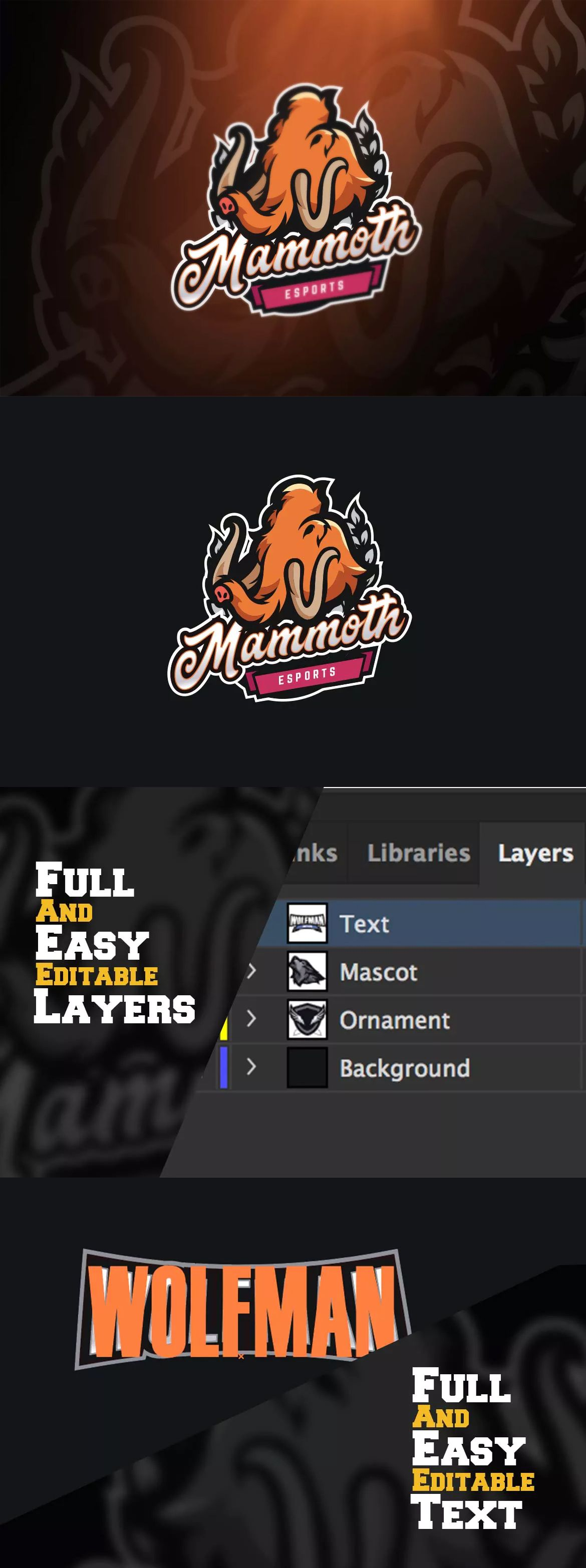 mammoth sport and esports logos template ai eps will i am axl