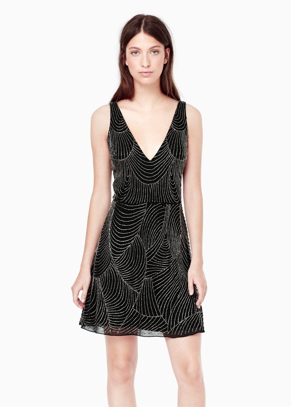 Vestido abalorios bordados - Mujer | Besticken, Mango und Für damen