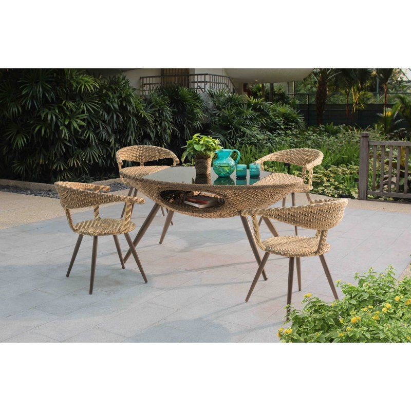 Outdoor SunNest Sunjoy Georgia Wicker 5 Piece Patio Dining