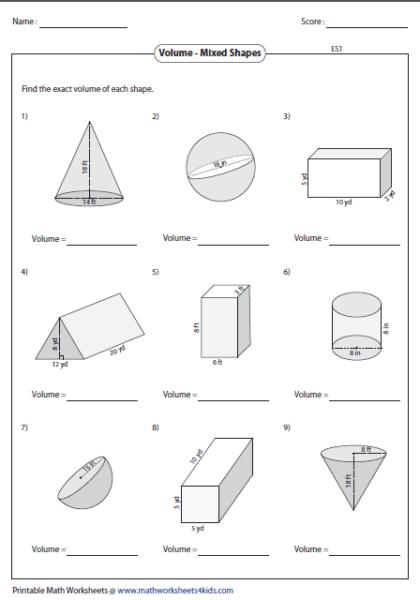 Volume Of Solids Worksheets in 2020 | Volume worksheets ...