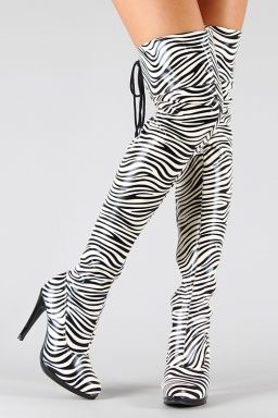 5e679e97ec38 ZEBRA THIGH HIGH BOOTS | The Dresstique Boutique Fashion | Pinterest ...