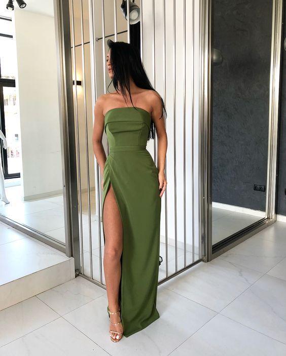 Strapless Sheath Long Olive Elastic Satin Evening Dress Split Floor Prom Dress