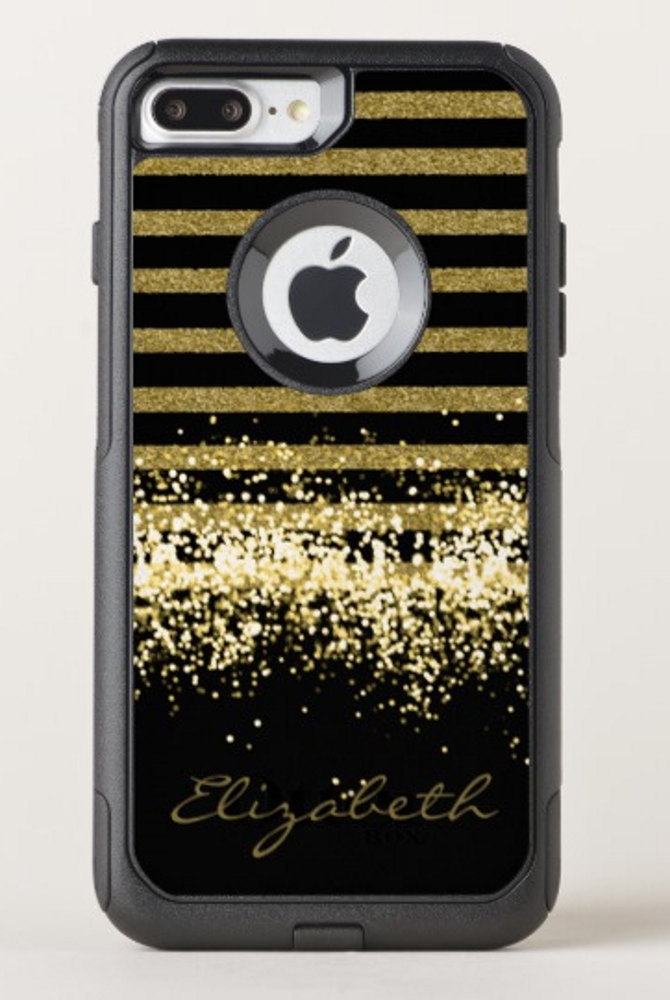 elegant black gold glitter personalized otterbox iphone casea modern iphone 7 plus 8 plus case in the gold and black color for girls who love glitter or black and gold background you can personalise it with your