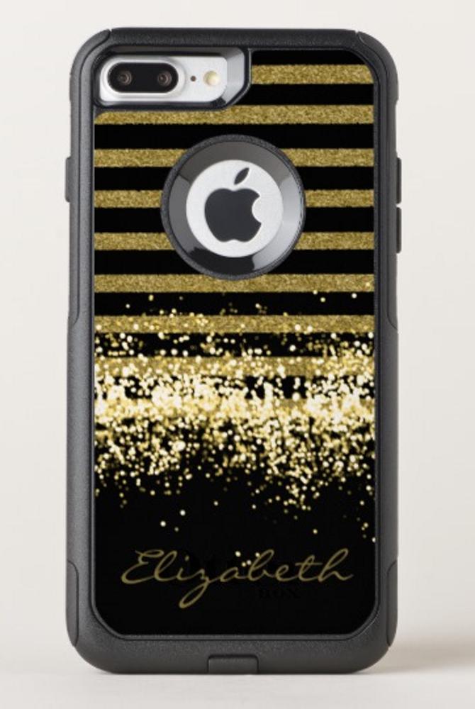 Elegant Black Gold Glitter Personalized Otterbox Iphone Case Zazzle Com Iphone Cases Otterbox Otterbox Iphone Iphone Cases For Girls