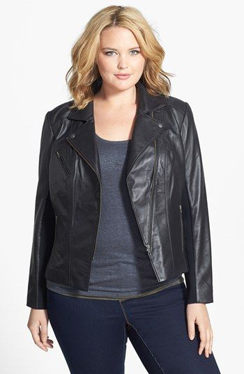 Halogen® 'Powder' Lambskin Leather Jacket (Plus Size) available at #Nordstrom