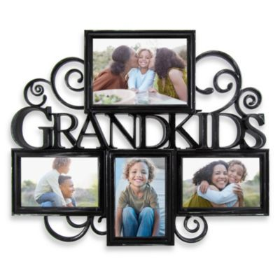 Grandkids 4 Photo Scroll Collage In Antique Black