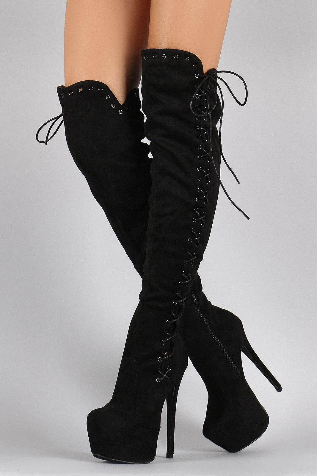 Suede Corset Lace Up Metal Eyelet Chunky Hidden Platform Stiletto Boots -  Sale! Up to 75% OFF! Shop at Stylizio for women s and men s designer  handbags 78eac8f24