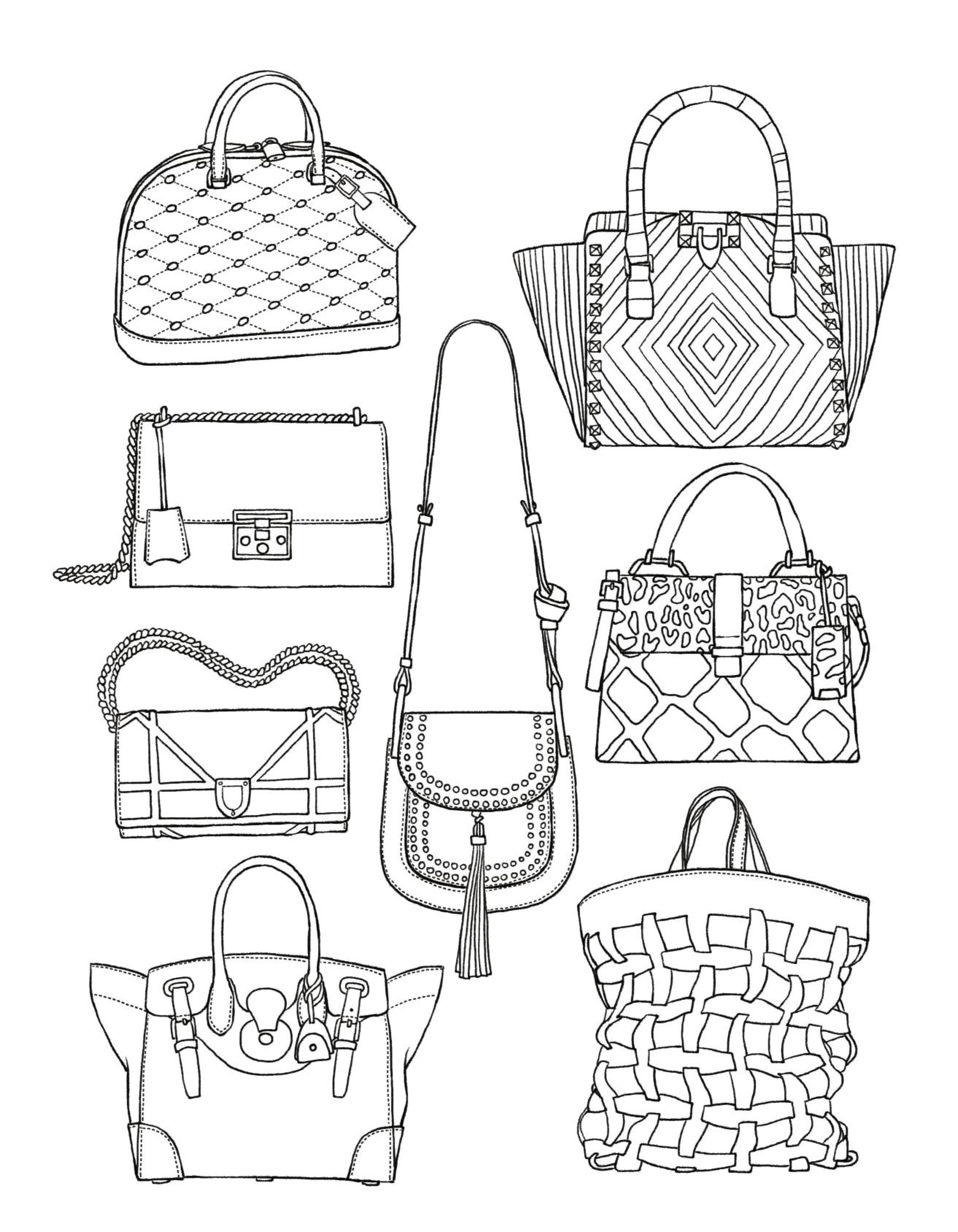 Handbags Coloring Page Fashion Coloring Book Adult Coloring
