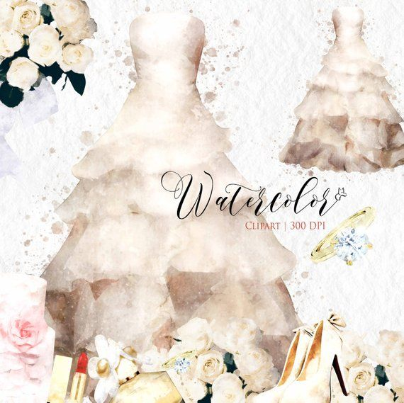 watercolor wedding clip art set wedding graphics wedding dress illustration engagement bridal shower clipart wedding invitation clipart