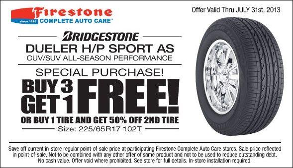 Buy 3 Get 1 Free Tires >> Buy 3 Get 1 Free Bridgestone Dueler H P Sport As Tire Coupon